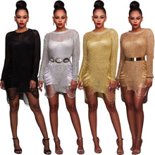 Load image into Gallery viewer, Womens Sexy Bodycon Gauze Evening Dress Cover Up Hollow Out Mini Dress
