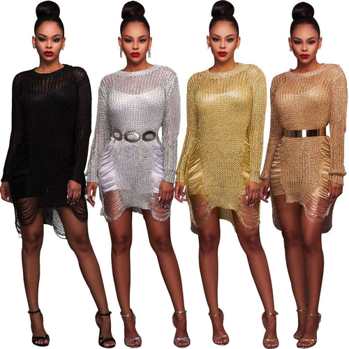 Womens Sexy Bodycon Gauze Evening Dress Cover Up Hollow Out Mini Dress