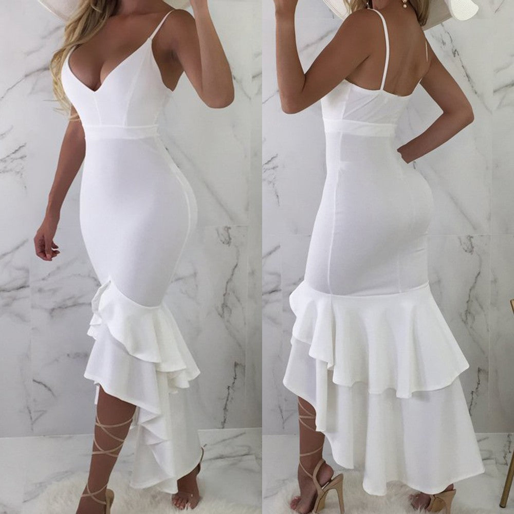 Women Summer Solid Color Sexy Slim Sleeveless V-neck One-piece Dress