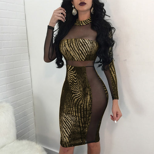 Sexy Women Metallic Sequin Dress Sheer Mesh Long Sleeve High Neck Bodycon Party Club Dress Gold