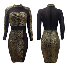 Load image into Gallery viewer, Sexy Women Metallic Sequin Dress Sheer Mesh Long Sleeve High Neck Bodycon Party Club Dress Gold