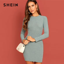 Load image into Gallery viewer, SHEIN Green Elegant Office Lady Solid Lettuce Trim Rib Knit Long Sleeve Skinny Short Dress Autumn Women Workwear Dresses
