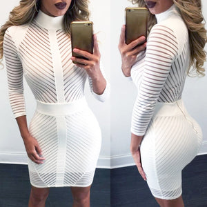 Sexy Women Bodycon Dress Sheer Striped Mesh Zip High Neck Mini Slim Party Dresses White