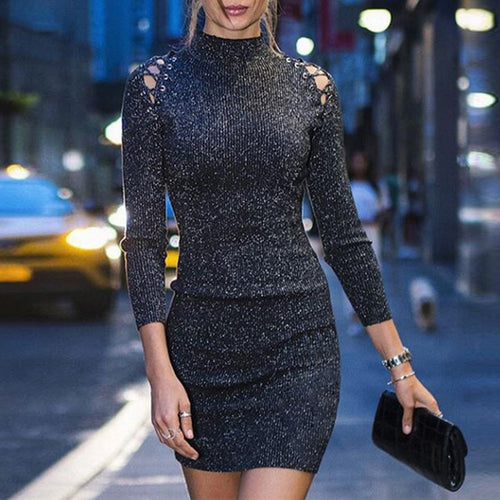Womens High Collar Long Sleeve Sexy Hollow Strapless Slim Bodycon Sexy Dress