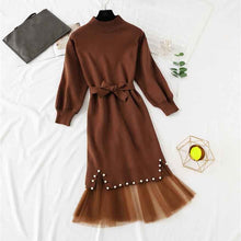 Load image into Gallery viewer, winter new women long sleeve beading hip knit with lace dress