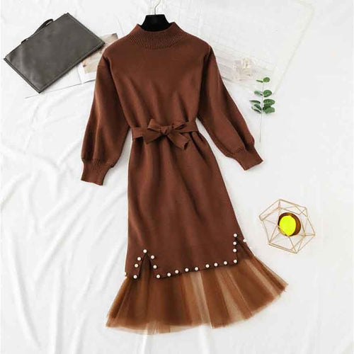 winter new women long sleeve beading hip knit with lace dress