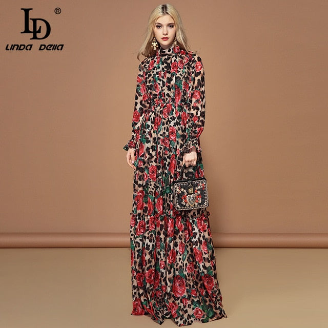 LD LINDA DELLA Fashion Runway Long Sleeve Maxi Dresses Women's Elegant Party Rose Floral Leopard Print Long Dress Holiday Dress