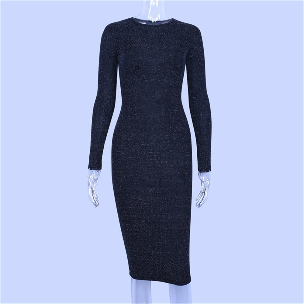 Women Long Sleeve High Waist Reflective Slim Dress