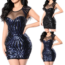 Load image into Gallery viewer, Women's Sexy Women Sequins Sleeveless Perspective Party Mini Bodycon Dress