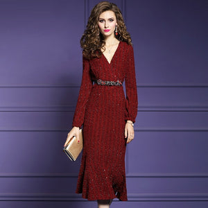 winter V neck Solid office lady winter long dresses