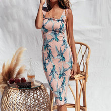 Load image into Gallery viewer, Women Floral Print Backless Bodycon Dress