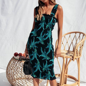 Women Floral Print Backless Bodycon Dress
