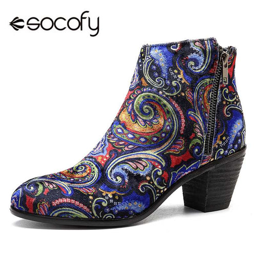 Socofy Flock Printed Flower Women Winter Boots