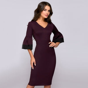 Women Vintage Flare Sleeve Party Dress