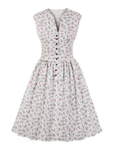 Load image into Gallery viewer, Wipalo Women Summer Vintage Dress Floral Print V-Neck Sleeveless Pin Up Vestidos Button Fly Evening Party Rockabilly Retro Dress