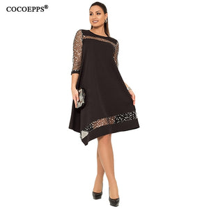 Women Shiny Dress Black Sequined