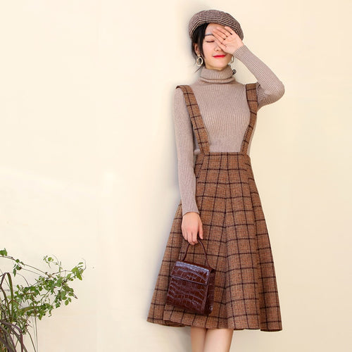 Winter Women Sleeveless Vest Brown Plaid Woolen Dresses