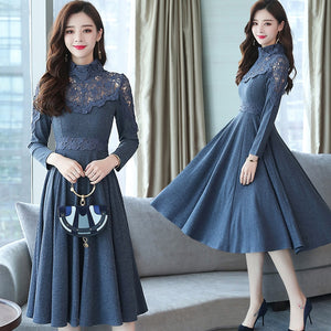 winter long slim long sleeves dresses