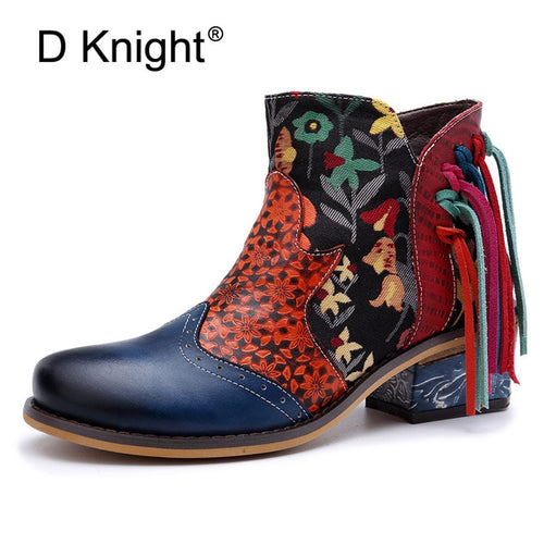 Big Size Patchwork Genuine Leather Ankle Boots