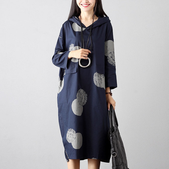 Winter Fashion Vintage Print Hooded Dress