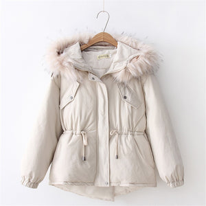The Big Hair Collar Cotton Clothing Female Winter Thickening Female Students Collect Waist