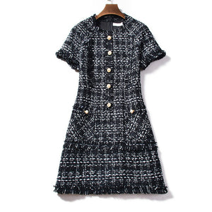 Retro Plaid Wool Winter Dress