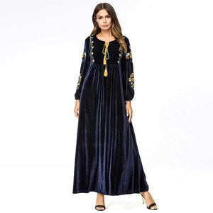 Winter Women Vestido Oversized Embroidery Ethnic Casual