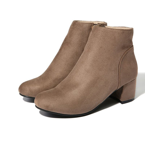Women 5.5cm High Heels Ankle Boots, Black/Khaki Flock Winter Vintage Boots