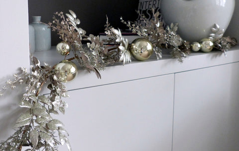 Gold Leaves and Bauble Garland