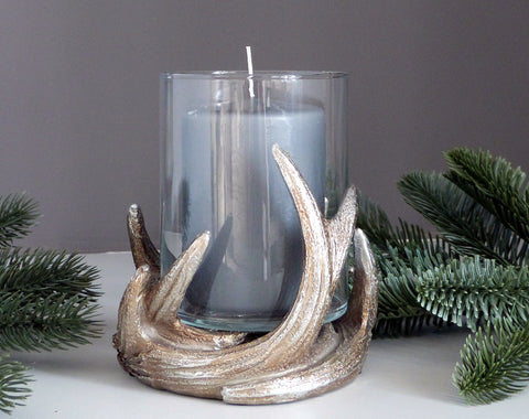 Glass Antler Candle Holder
