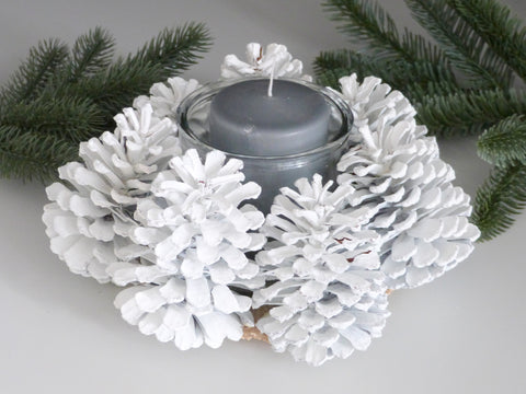 White Pinecone Candle Holder