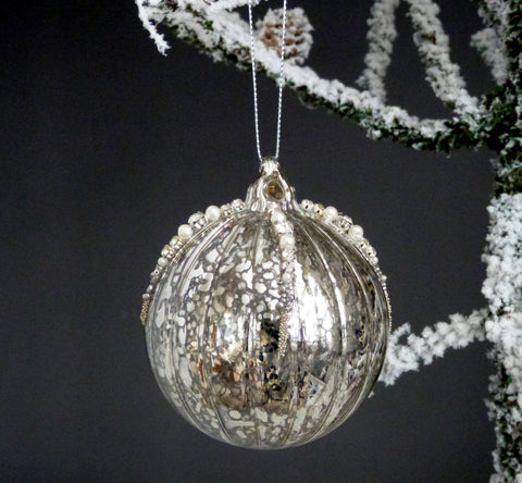 Antique Silver Beaded Bauble