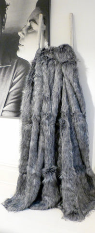 Charcoal Grey Faux Fur Throw