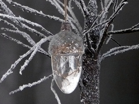 Clear Glass Acorn Bauble