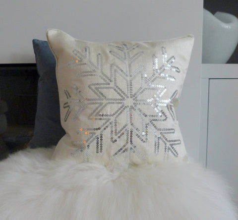 Ivory Sequin Snowflake Cushion