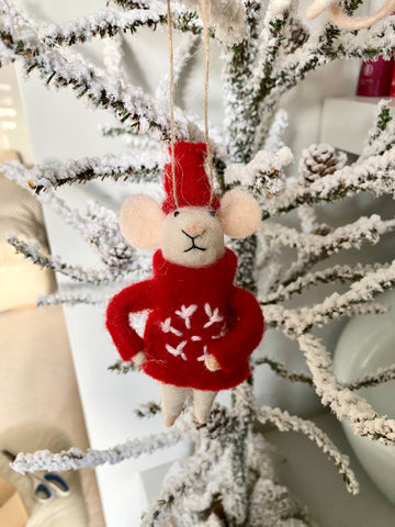 Wool Mouse with Red Jumper and Hat