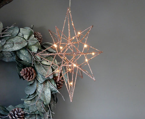 Copper Glitter LED Star