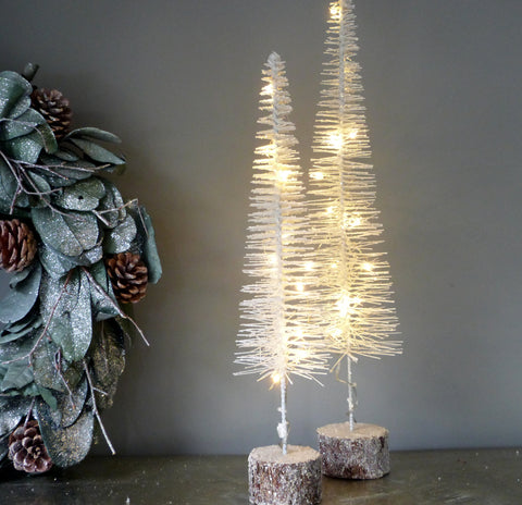 White Brush Tree With Lights Small