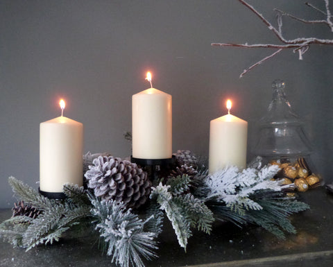 Snowy Pine Triple Candle Stand