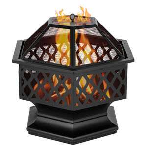 "24"" Hexagonal Shaped Iron Brazier Wood Burning Fire Pit Decoration for Backyard Poolside"