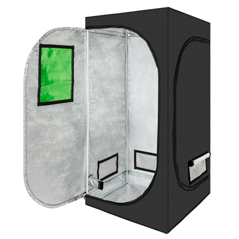 80 x 80 x 160cm Home Use Dismountable Hydroponic Plant Growing Tent with Window Green & Black
