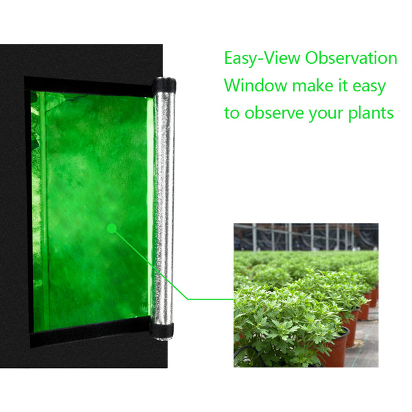 60 x 60 x 120cm Home Use Dismountable Hydroponic Plant Growing Tent with Window Green & Black