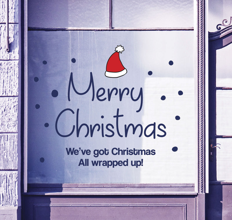 Merry Christmas Shop Window Stickers Festive Xmas Santa Sign Display Decal B91M