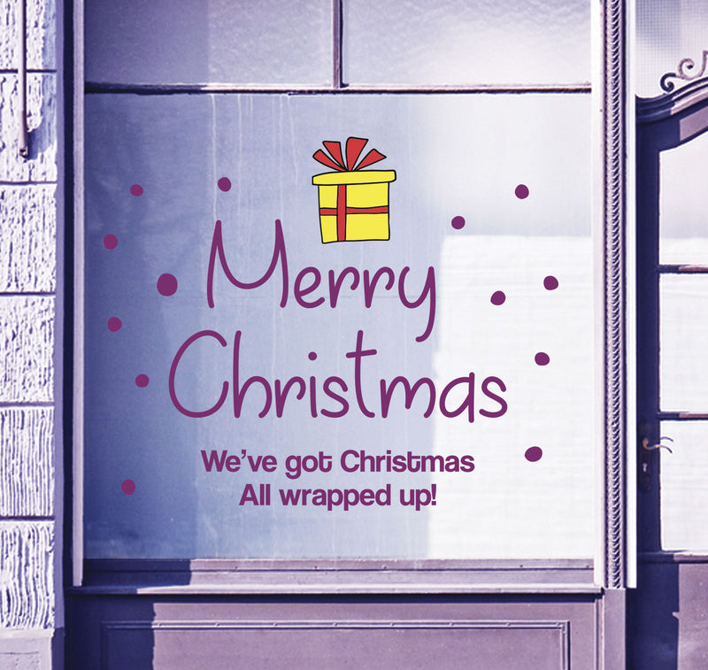 Merry Christmas Shop Window Sticker Festive Xmas Present Sign Display Decal B92M