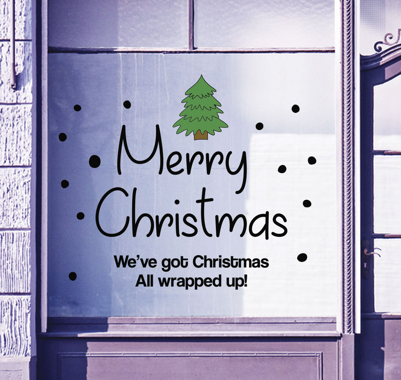 Merry Christmas Shop Window Sticker Festive Xmas Tree Sign Display Decal B93M