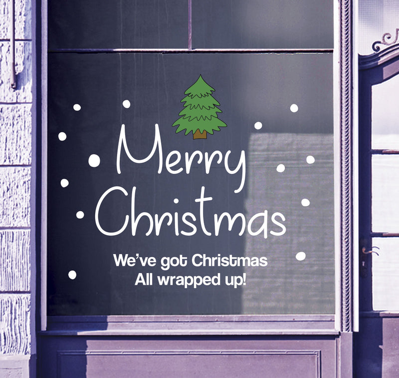 Merry Christmas Shop Window Sticker Festive Xmas Tree Sign Display Decal B93L