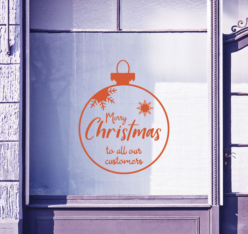 Christmas Bauble Merry Customers Shop Window Sticker Festive Xmas Sign Decal B94