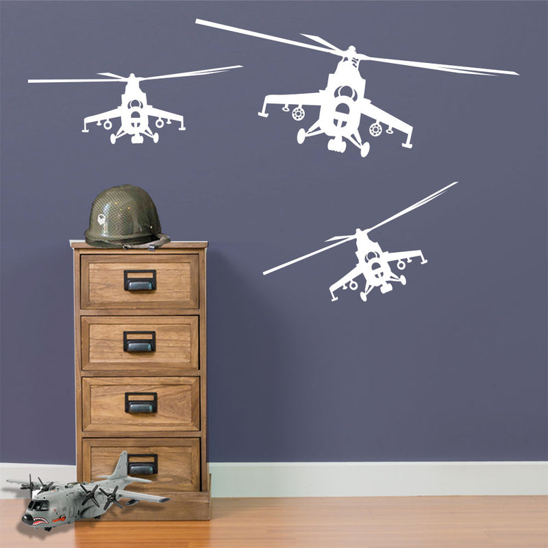 Military Army Apache Helicopter Men Matt Wall & Window Stickers Decal Kids A14