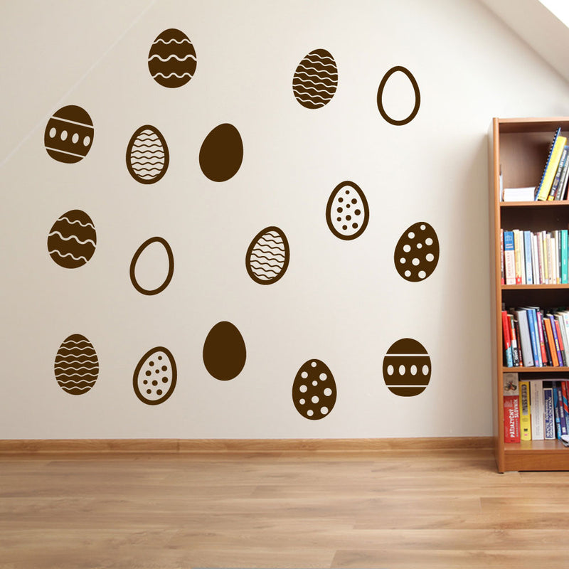 Easter Eggs Set of 16 Wall Stickers Decals Kids Decor Window Fun Colourful A145