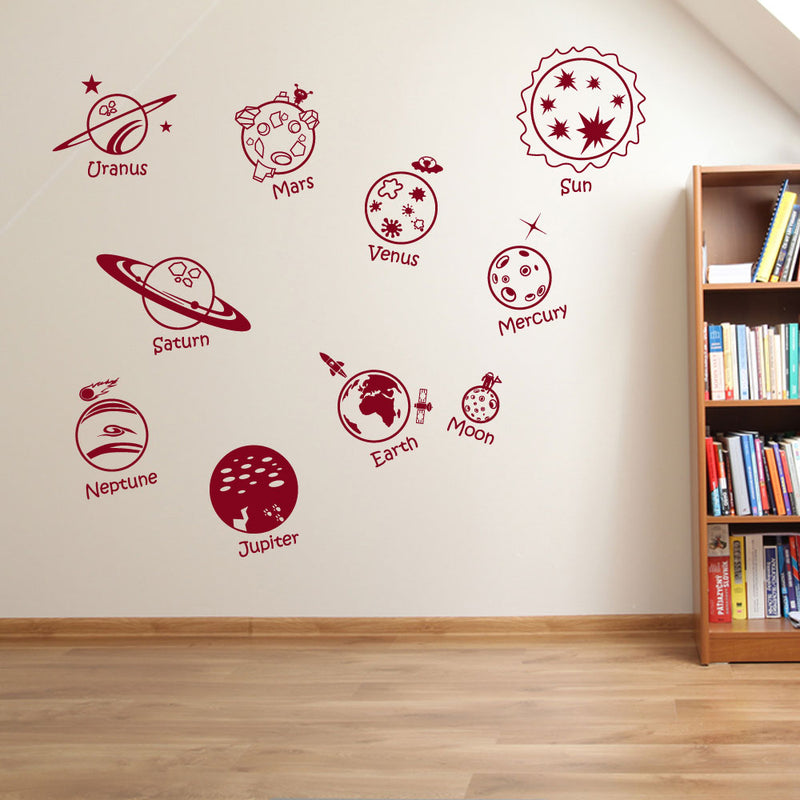 Planets Sun Moon Solar System Space Wall Window Stickers Decals Kids Decor A134
